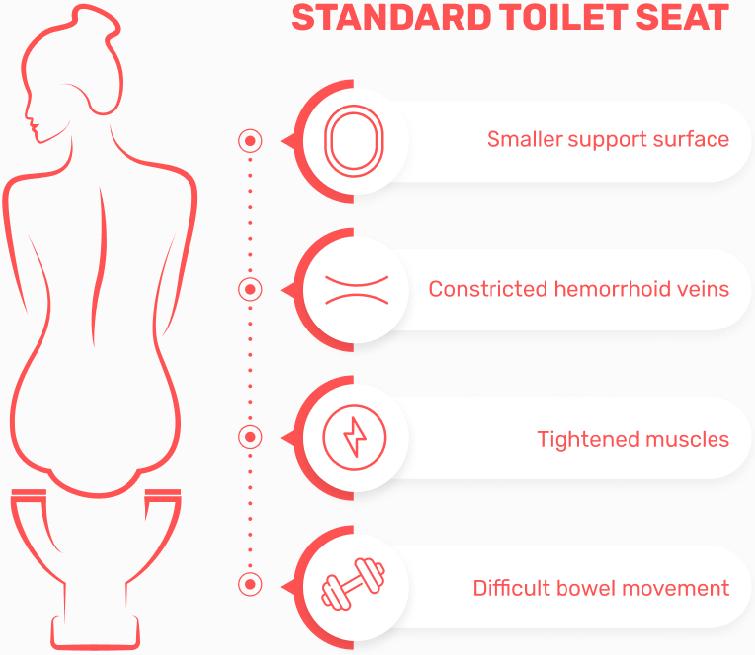 Standard toilet seat downsides